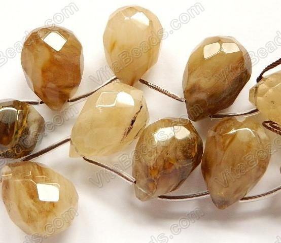 Golden Quartz  -  18x25mm Faceted Teardrop 8""