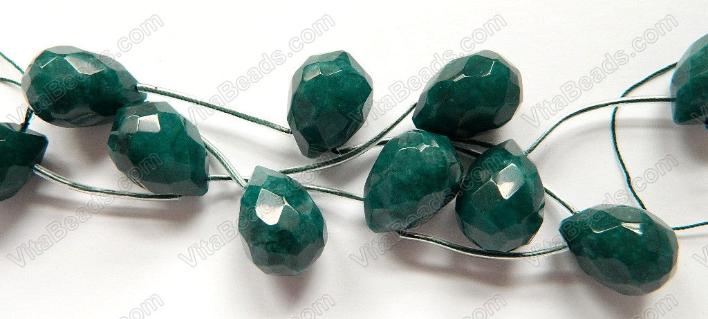Emerald Jade  -  18x25mm Faceted Teardrop 8""