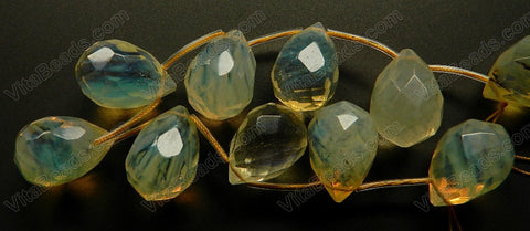 Pineapple Quartz  -  18x25mm Faceted Teardrop 8""