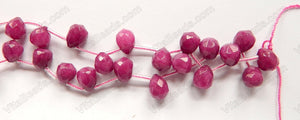 Purple Fuchsia Jade  -  9x11mm Faceted Teardrop  16""