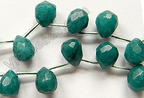 Emerald Jade  -  9x11mm Faceted Teardrop  16""