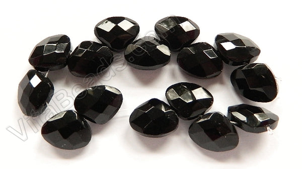 Black Crystal Quartz  -  Faceted Flat Briolette  8""
