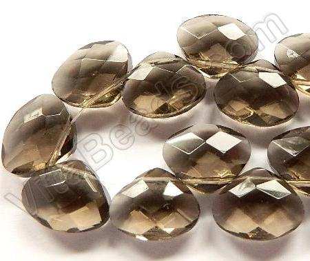 Smoky Crystal - Faceted Flat Briolette 6""