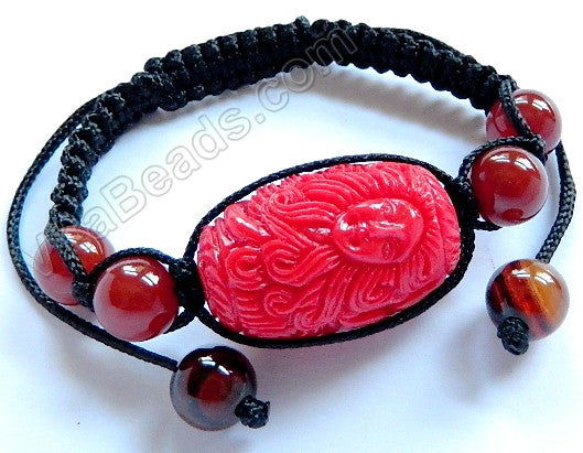Cinnabar - Carved Mermaid Drum Bracelet 20x35mm