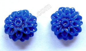 Carved Zinnia Pendent   Synthetic Navy Blue Stone