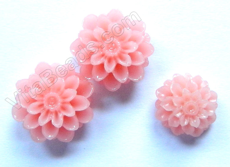 Carved Zinnia Pendent   Synthetic Pink Coral