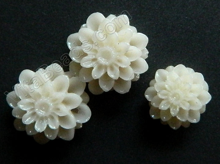 Carved Zinnia Pendent Synthetic White Bone
