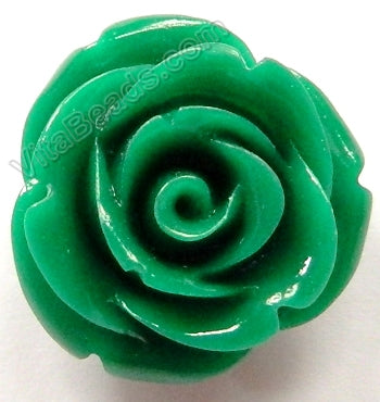 Carved Small Rose Pendent Synthetic Green Qtz