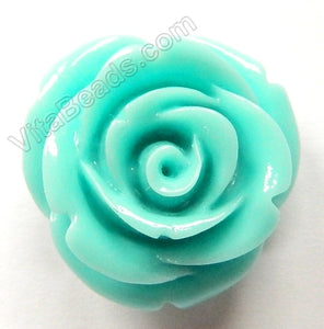 Carved Small Rose Pendent Synthetic Blue TQ