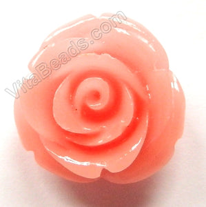 Carved Small Rose Pendent Synthetic Pink Coral