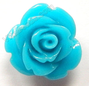 Carved Small Rose Pendent Synthetic Aqua Blue Qtz