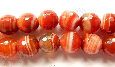 Carnelian White Stripe Agate  -  Faceted Round  15""