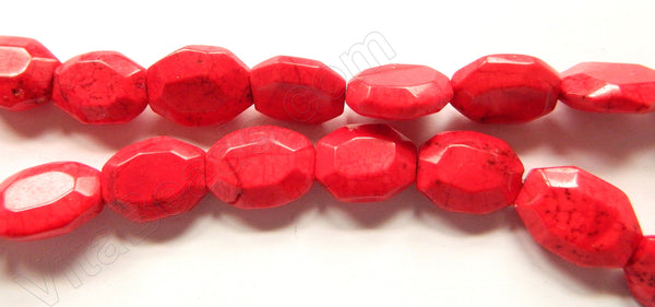 Red Crack Turquoise  -  Faceted Oval Nuggets 16""