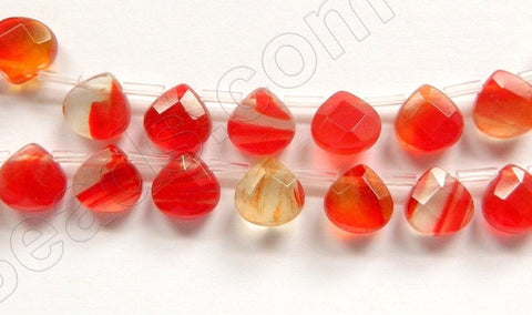 Fire Quartz -  10mm Faceted Flat Briolette 16""