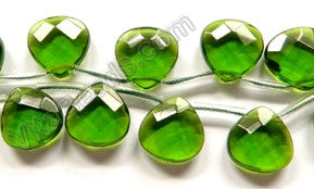 Dark Green Crystal  -  13mm Faceted Flat Briolette 16""
