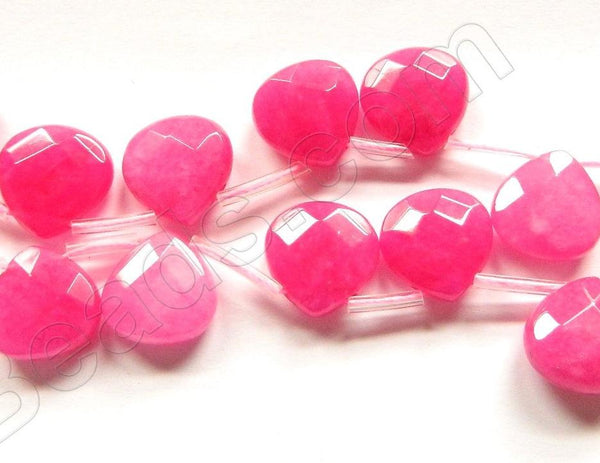 Rose Fuchsia Jade  -  13mm Faceted Flat Briolette 16""