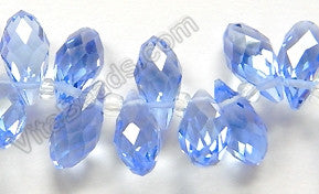 Light Sky Blue Crystal - 6x12mm Faceted Long Teardrops 8""
