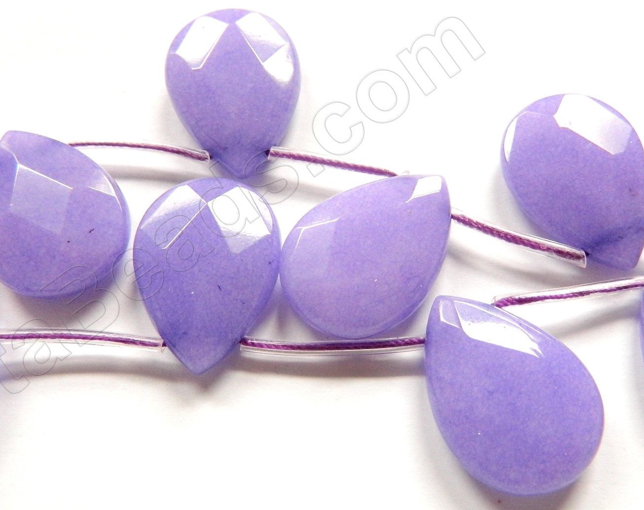 Purple Jade  -  18x25mm Faceted Flat Briolette  16""