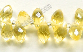 Lemon Crystal Quartz - 6x12mm Faceted Long Teardrops 8""