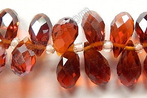 Dark Amber Crystal Quartz - 6x12mm Faceted Long Teardrops 8""