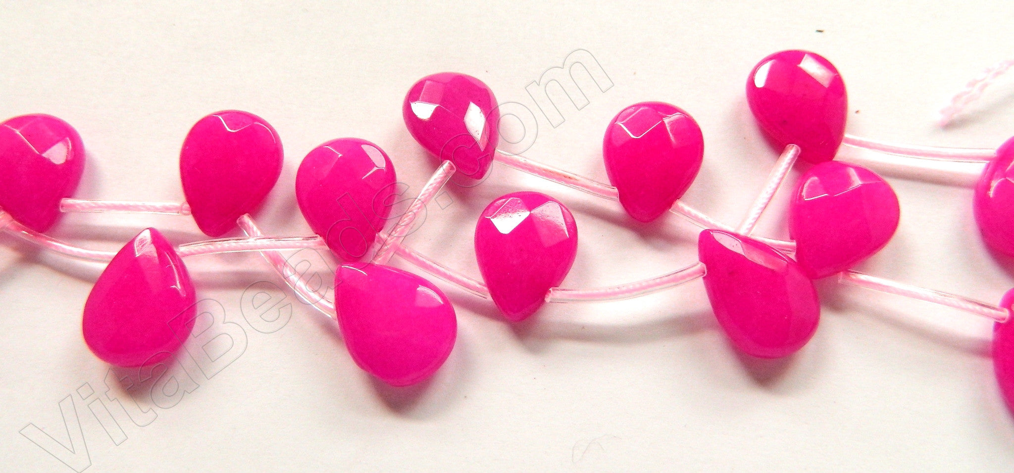 Dark Fuchsia Jade  -  13x18mm Faceted Flat Briolette  16""