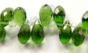 Dark Green Crystal Quartz - 6x12mm Faceted Long Teardrops 8""
