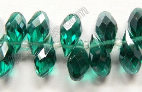 Emerald Crystal Quartz - 6x12mm Faceted Long Teardrops 8""