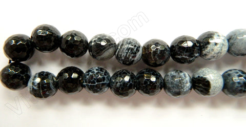 Natural Fire Agate Black White  -  Faceted Round  16""