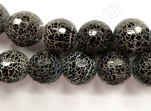 Natural Cracked Fire Agate Black AA -  Faceted Round 14""