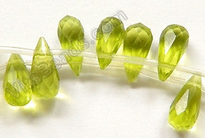 Olive Green Crystal - 6x13mm Faceted Long Teardrops 16""