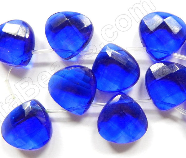 Royal Blue Crystal Quartz  -  20mm Faceted Flat Briolette 8""