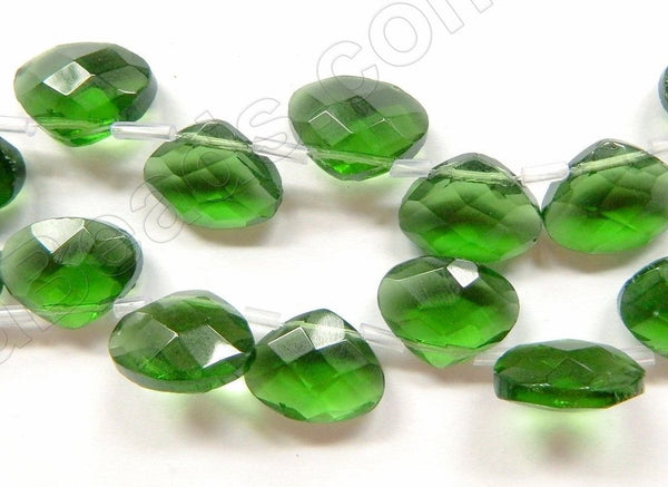 Forest Green Crystal - Faceted Flat Briolette 6""