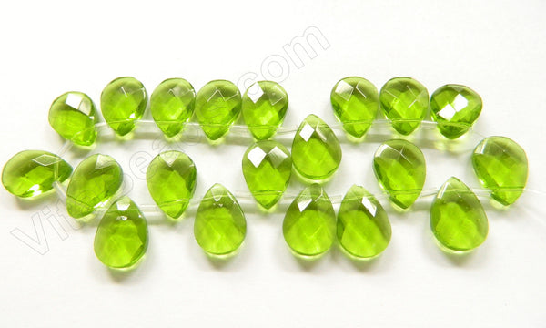Peridot Crystal - 13x18mm Faceted Flat Briolette 6""