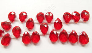 Big Red Crystal - 13x18mm Faceted Flat Briolette 6""
