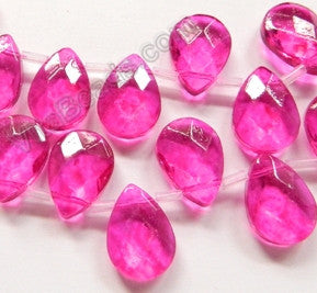 Fuchsia Crystal - 13x18mm Faceted Flat Briolette 6""