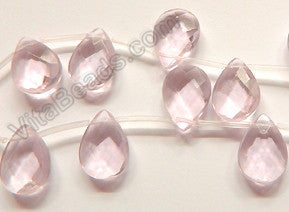 Pink Crystal - 13x18mm Faceted Flat Briolette 16""
