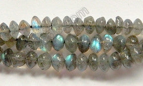 "Labradorite AA  -  Plain Button 13.5""    5-6mm"