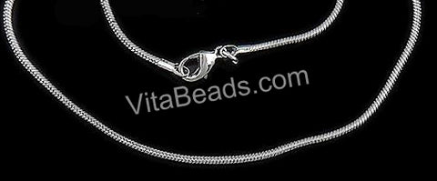 Platinum Plated Brass Snake Chain Necklace with Lobster Clasps 18""