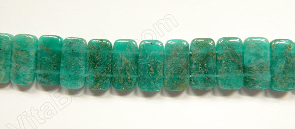 Russia Amazonite Dark A  -  20x10mm Double Drilled Rectangles  16""