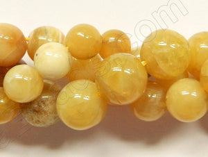 Yellow Opal  -  Smooth Round Beads  16""