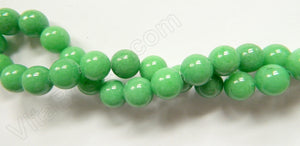 "Apple Green Jade - Smooth Round Beads  16""     10 mm"
