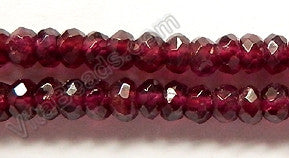 Garnet  -  Faceted Rondel, Faceted Button  16""