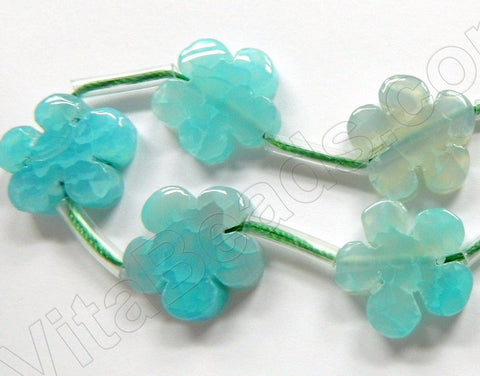 "Aqua Fire Agate  -  5 Petal Flower Strand  16""    20 mm"