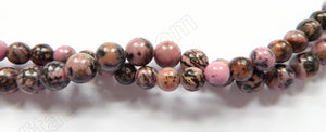 Black Line Rhodonite  -  Smooth Round Beads  16""