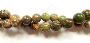 Brazilian Green Opal AA  -  Smooth Round Beads 16""