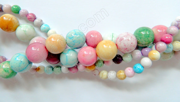 Dyed White Agate (Multi Color)  -  Smooth Round Beads   16""