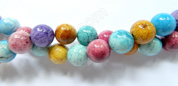 Dyed White Agate (Multi Color)  -  Big Smooth Round Beads   16""