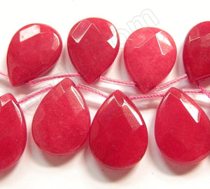 Big Red Jade  -  18x25mm Faceted Flat Briolette  16""