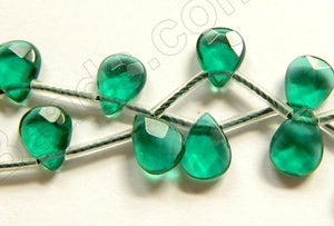 Emerald Crystal   -  7x10mm Faceted Flat Briolette 16""