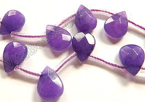 Dark Purple Jade  -  7x10mm Faceted Flat Briolette 16""